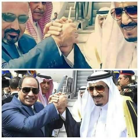 """بالصورة.. لقاء الملك سلمان وعيدروس الزبيدي """"فوتوشوب"""""""
