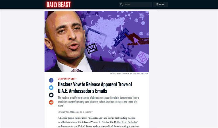 عاااجل.. شكلت ضربة للدبلوماسية الاماراتية.. قراصنة يستولون على وثائق سرية بعد اختراقهم البريد الالكتروني للسفير الاماراتي في واشنطن