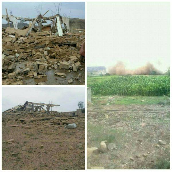 بالصور.. مليشيات الحوثي والمخلوع تفجر منزل احد قيادات المقاومة بالبيضاء