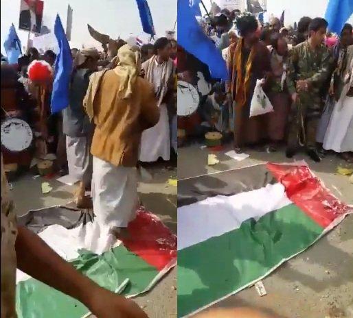 """شاهد بالفيديو…  أنصار المخلوع """"صالح"""" يرقصون على العلم الإماراتي بساحة """"السبعين"""""""