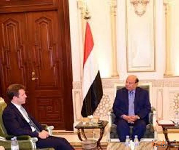 هادي يلتقي سفير المملكة المتحدة ويناقشان اهمية تفعيل رابطة اصدقاء اليمن