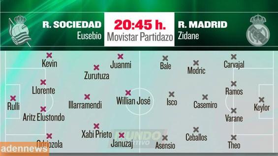 هذه هي تشكيلة ريال مدريد أمام ريال سوسيداد اليوم