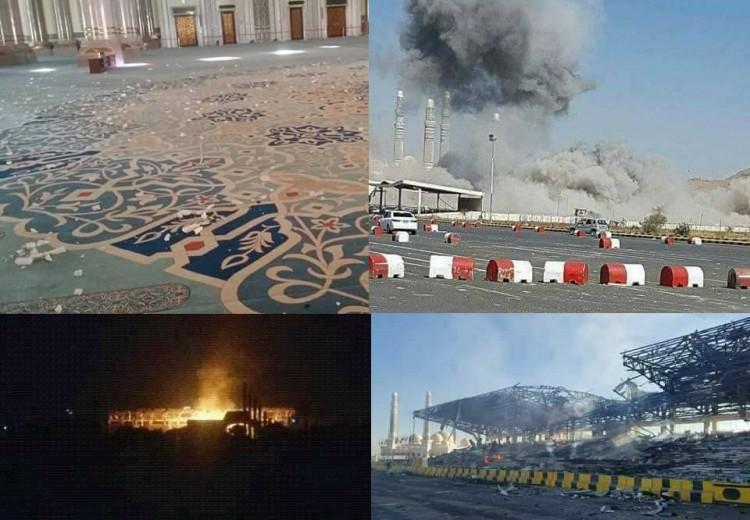 شاهد صور احتراق منصة ميدان السبعين وتأثر جامع الصالح بقصف طيران التحالف