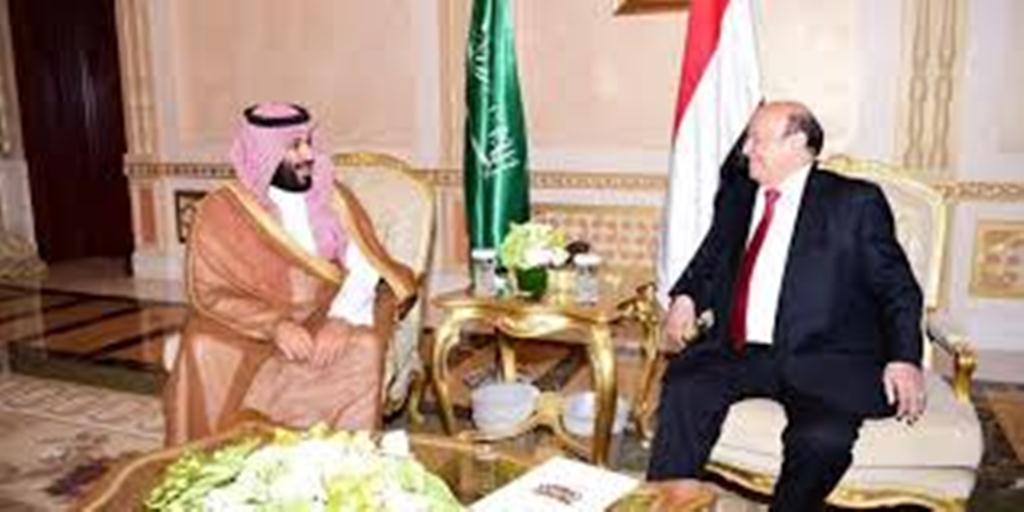 الرئيس هادي يلتقي ولي العهد السعودي محمد بن سلمان