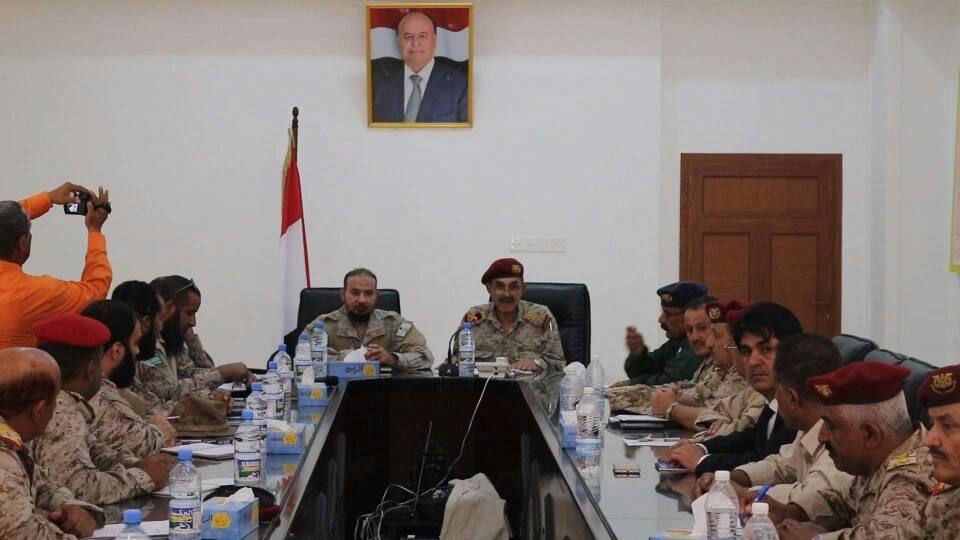 اجتماع مشترك لقادة المؤسسات الدفاعية والأمنية وقوات التحالف العربي بعدن