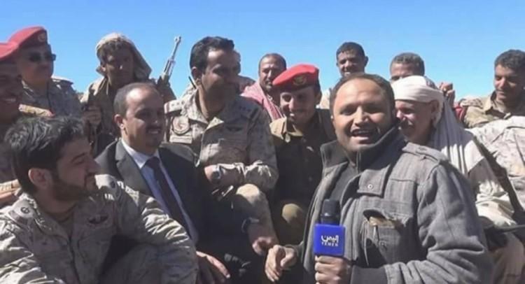 الناطق باسم التحالف العربي يظهر في جبهة نهم مع قوات الجيش الوطني