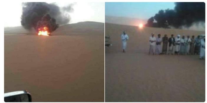 بالصور.. مسلحون يفجرون انبوب نفط بين شبوة ومأرب ثم يصلون بجانبه وهو يحترق