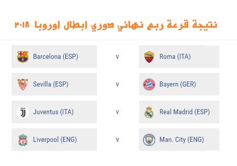 نتيجة قرعة ربع نهائي دوري ابطال اوروبا تسفر عن إعادة النهائي، وصدام انجليزي (مواعيد المباريات)