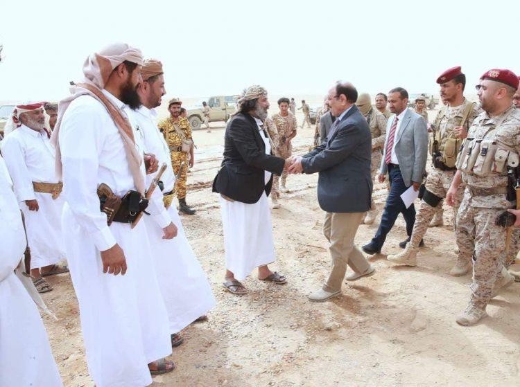 الفريق علي محسن يصل محافظة الجوف (صورة)