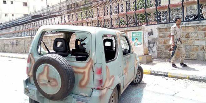 نجاة مدير قسم شرطة الجديري من محاولة اغتيال امام مبنى المحافظة في تعز