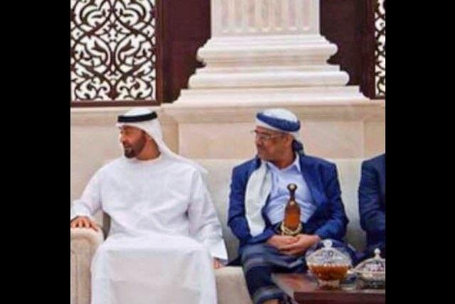 وزير الداخلية الميسري يظهر مرتدياً الزي اليمني اثناء لقائه محمد بن زايد في الامارات
