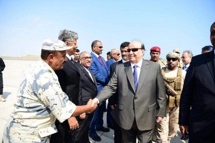 استقبال رسمي وشعبي كبير للرئيس هادي في عدن