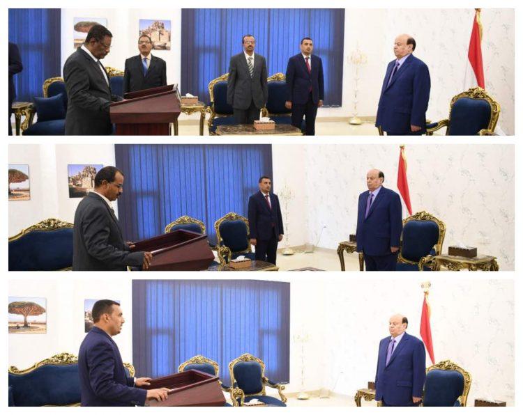 محافظي البيضاء وسقطرى، وعدد من أعضاء بمجلس الشورى يؤدون اليمين الدستورية