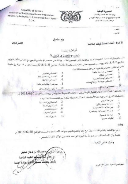مليشيا الحوثي تلزم المستشفيات الخاصة في صنعاء بإرسال فرق طبية إلى الحديدة (وثيقة)