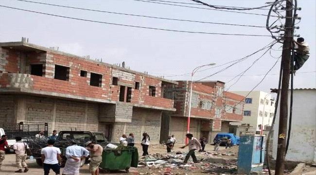 تواصل حملة ازالة الربط العشوائي للتيار الكهربائي في عدن