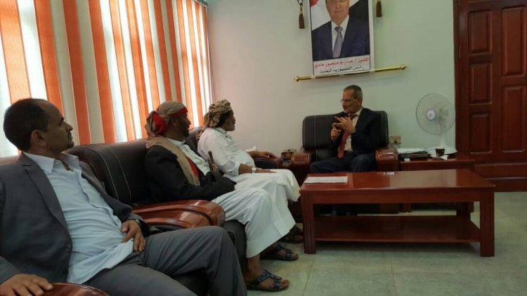 وزير التربية والتعليم الدكتور عبدالله لملس يلتقي محافظ الجوف اللواء امين العكيمي