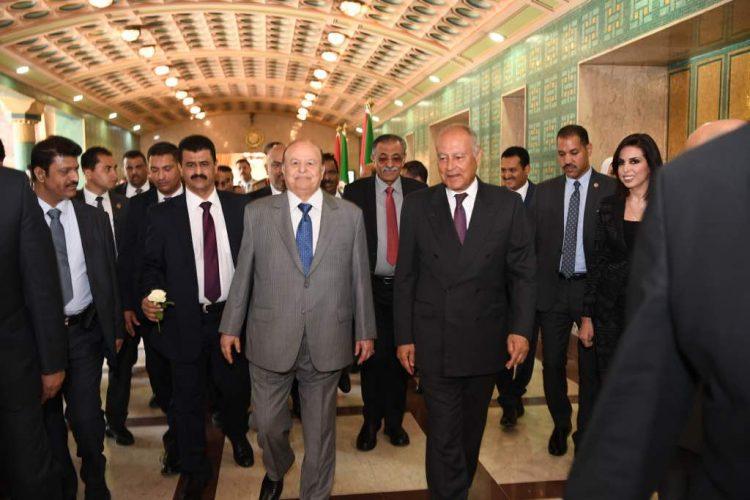 هادي يثمن المواقف الثابتة للجامعة العربية ضد التدخلات الايرانية في اليمن
