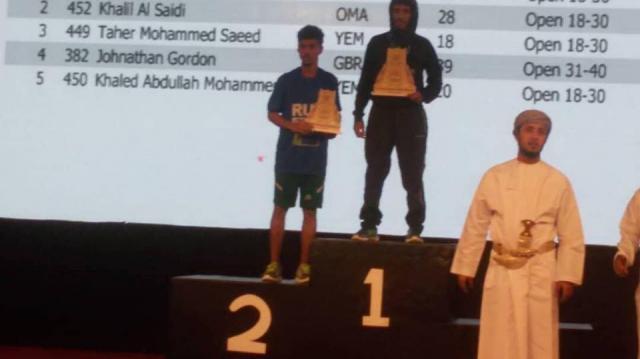 اللاعب اليمني طاهر ، يحرز المركز الثاني في نصف ماراثون صلالة