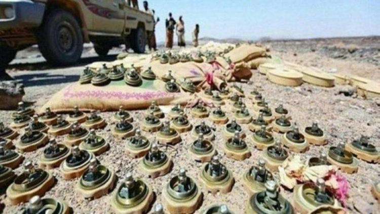 الفرق الهندسية التابعة للجيش تنزع 500 لغم أرضي وعبوة ناسفة زرعها الحوثيون في كتاف