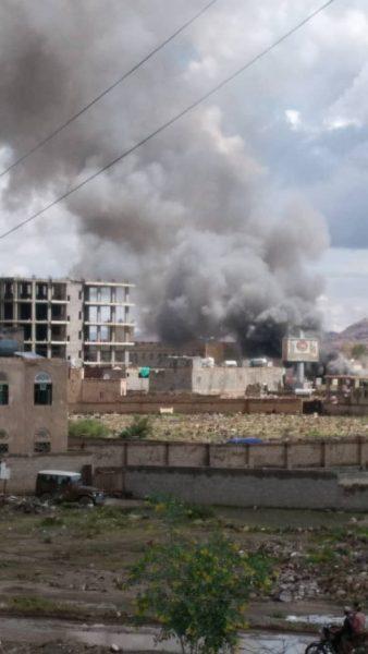 صنعاء: انفجار مخزن اسطوانات غاز والحريق يلتهم عدد من المحال التجارية