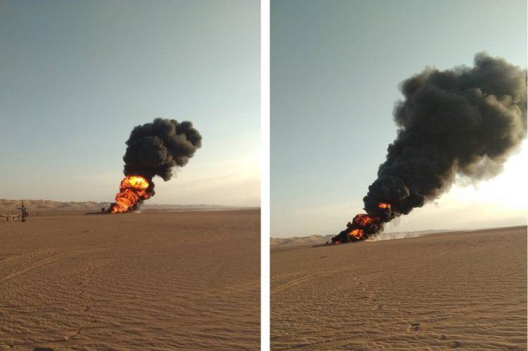 شبوة مواطنون يقومون بتخريب احد الابار النفطية للمطالبة باعادة التيار الكهربائي  (صور)