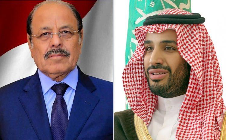 الفريق علي محسن يعزي الأمير محمد بن سلمان في وفاة الأمير طلال بن عبدالعزيز