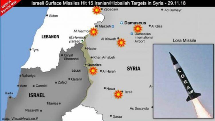 تقرير لموقع إسرائيلي يكشف خارطة الأهداف التي طالها القصف الصاروخي في سوريا