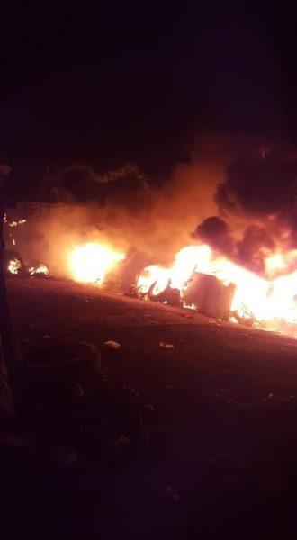مأرب: اندلاع حريق هائل في أحد الاسواق بالمدينة