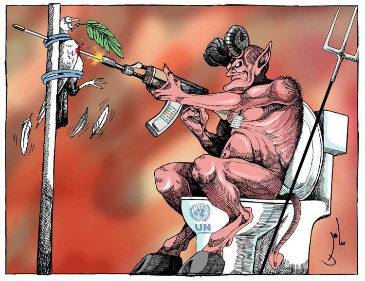 الصورة تتحدث.. كاريكاتير: الحوثي يقضي على أي أمل للسلام في اليمن