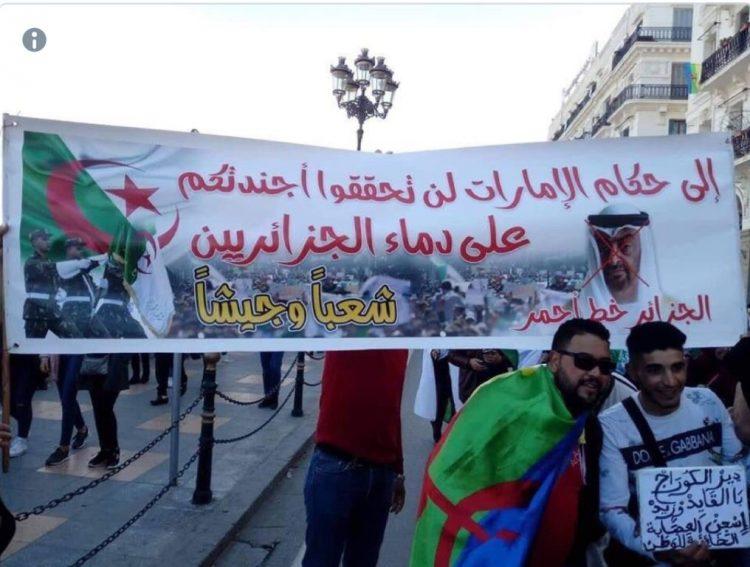 """ما سبب ظهور لافتات تطالب بابتعاد الإمارات عن الجزائر.. ولماذا يتخوف الجزائريون من """"تدخل إماراتي""""؟"""