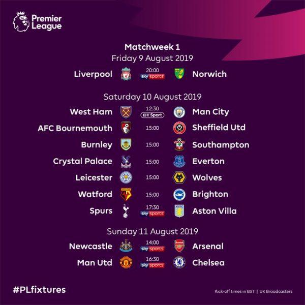 """الاتحاد الانجليزي يكشف عن جدول مباريات """"البريمير ليغ"""" .. وهذه هي مواجهات اول اسبوع"""