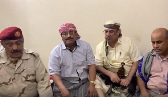 """عاجل.. فيديو جديد لوزير الداخلية """"الميسري"""" برفقة الجبواني وقادة عسكريين ينفون اشاعات المليشيات بعدن"""