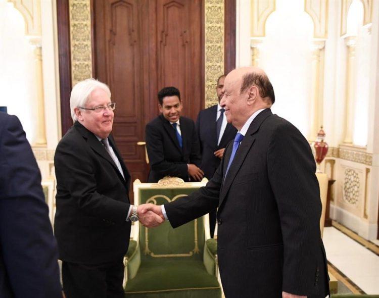 خلال استقباله غريفيث.. الرئيس هادي: لن تلهينا الأحدث عن إيجاد مخارج لشعبنا والإنتصار لليمن
