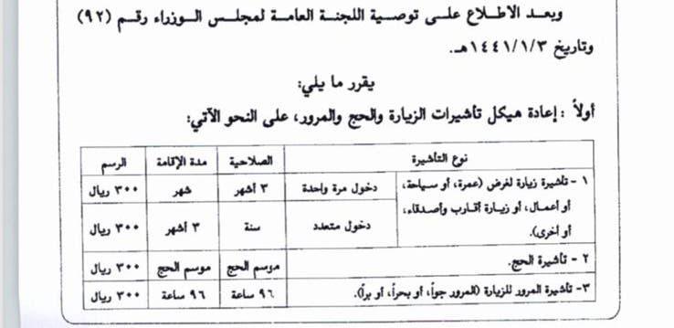 """السعودية تقرر اعادة هيكل تأشيرات الحج والعمرة والزيارة وتحدد سعرها بـ """"300 ريال"""""""