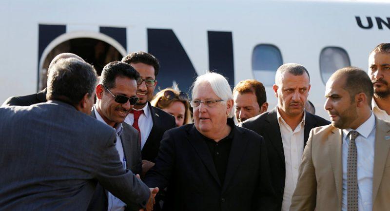 وصول المبعوث الأممي مارتن غريفيث إلى صنعاء للقاء الحوثيين