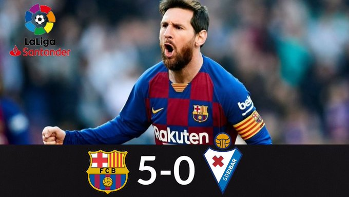 سجل سوبر هاتريك.. ميسي يقود برشلونة لفوز ساحق على ايبار