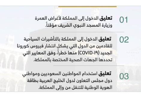 عاجل.. الحكومة السعودية تعلن تعليق العمرة وايقاف التأشيرات السياحية وعدد من الاجراءات الاحترازية بسبب فيروس كورونا