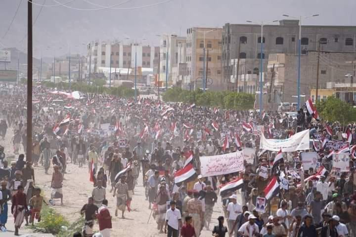 tens of thousands protest in Shabwa in support of legitimate government