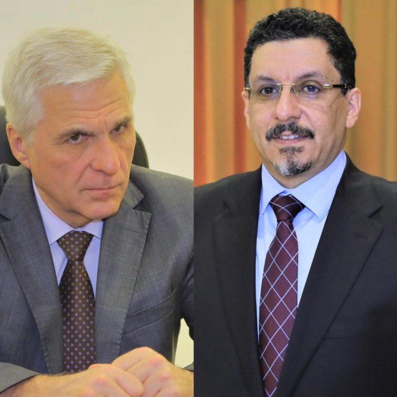 وزير الخارجية يبحث مع السفير الروسي موقف المجتمع الدولي من استهداف مطار عدن