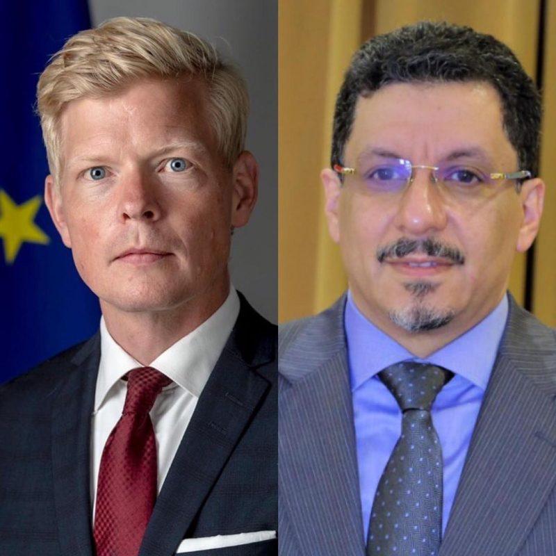 الحكومة تبحث مع سفير الإتحاد الأوروبي لدى اليمن تطورات الأحداث والجهود المبذولة لإحلال السلام