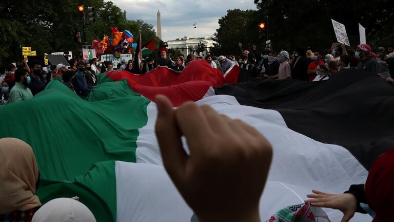 """واشنطن: مظاهرة حاشدة تندد بـ""""الجرائم الإسرائيلية"""" بحق الشعب الفلسطيني"""