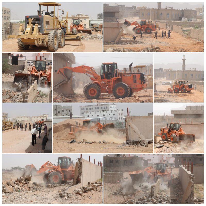 شبوة استمرار عملية إزالة العشوائيات في العاصمة عتق